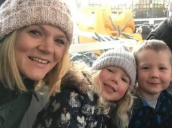 Parent Blogger Sian Smith with her children talking about her breastfeeding experience